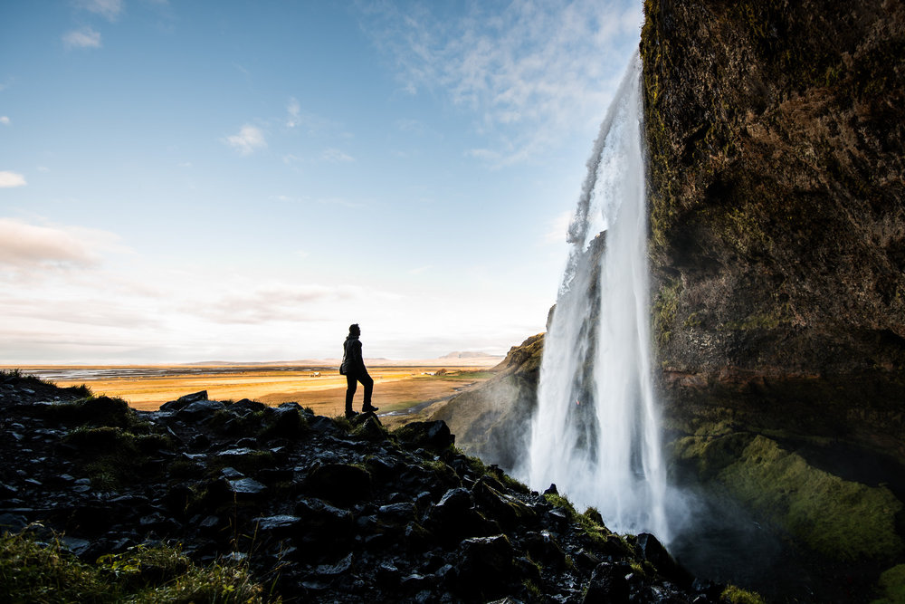 Matt checking out Seljalandsfoss.