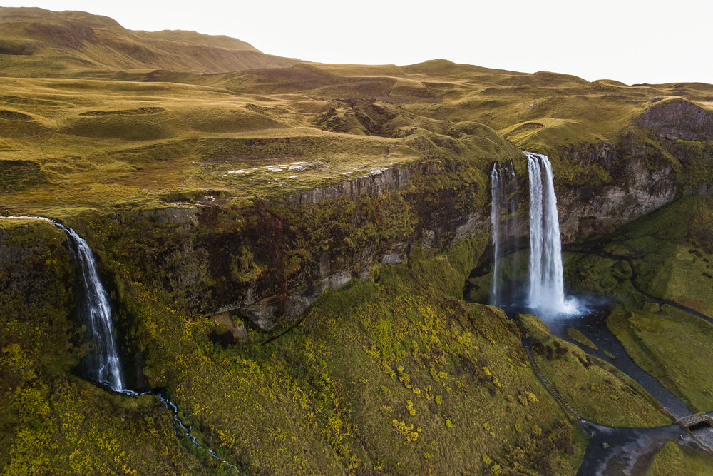 Birds eye view of Seljalandsfoss.