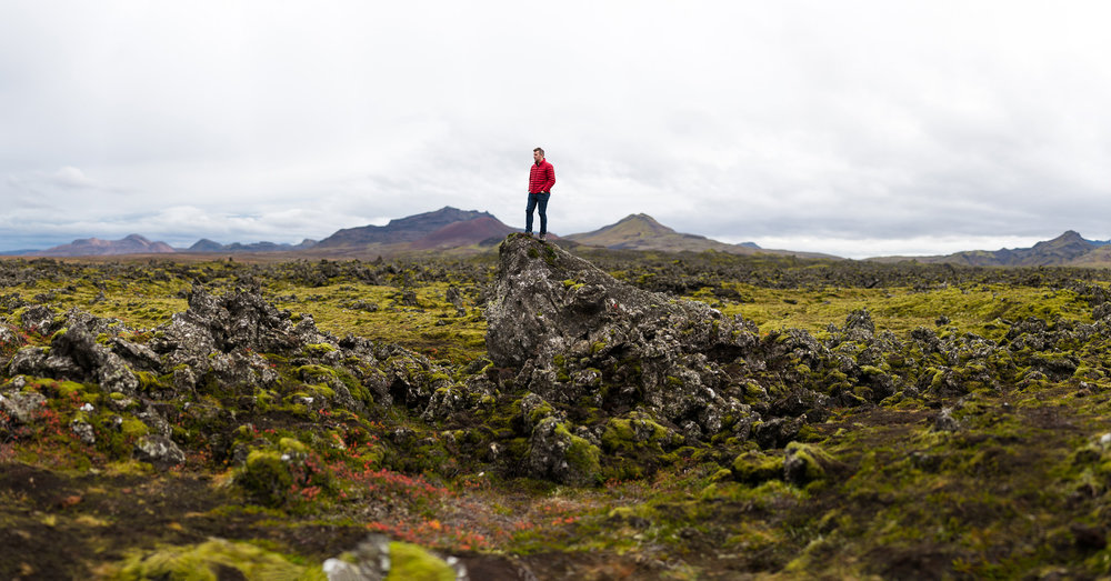 Matt perched over Berserkjahraun lava feild.