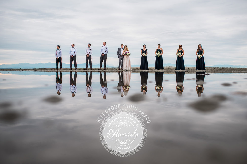 "2018 Winners of the ""Best Group Photo""  award from the Vancouver Island Wedding Industry Awards"