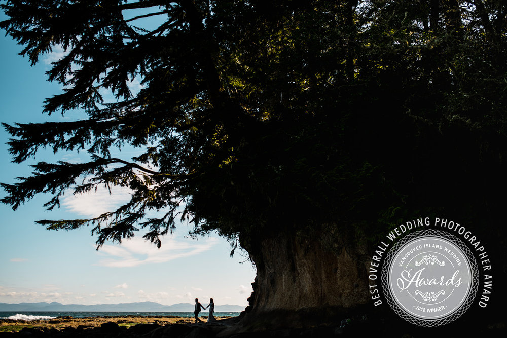 "2018 Winners of the ""Best Overall Wedding Photographers""  award from the Vancouver Island Wedding Industry Awards"