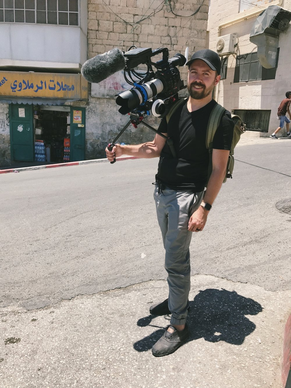 That's me in Bethlehem in 2017, filming for an  upcoming documentary  on the Palestinian experience.