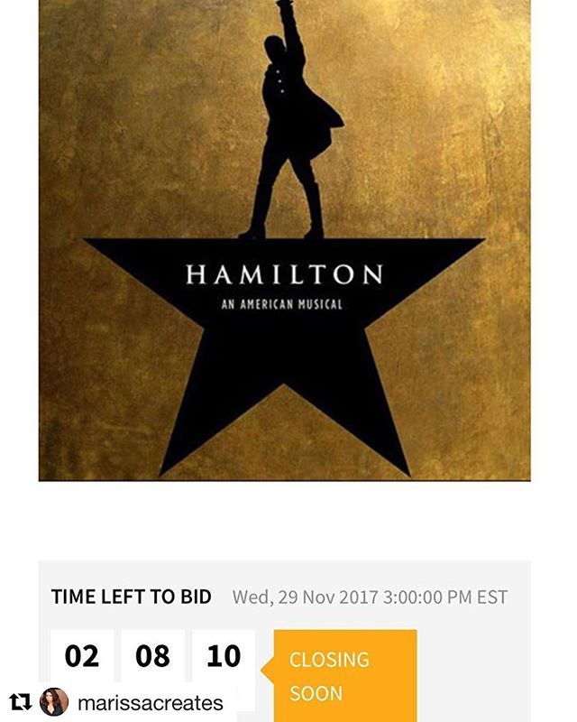 Our Hamilton Experience auction is closing at noon! Place your bid now before it's too late! Link in the bio.