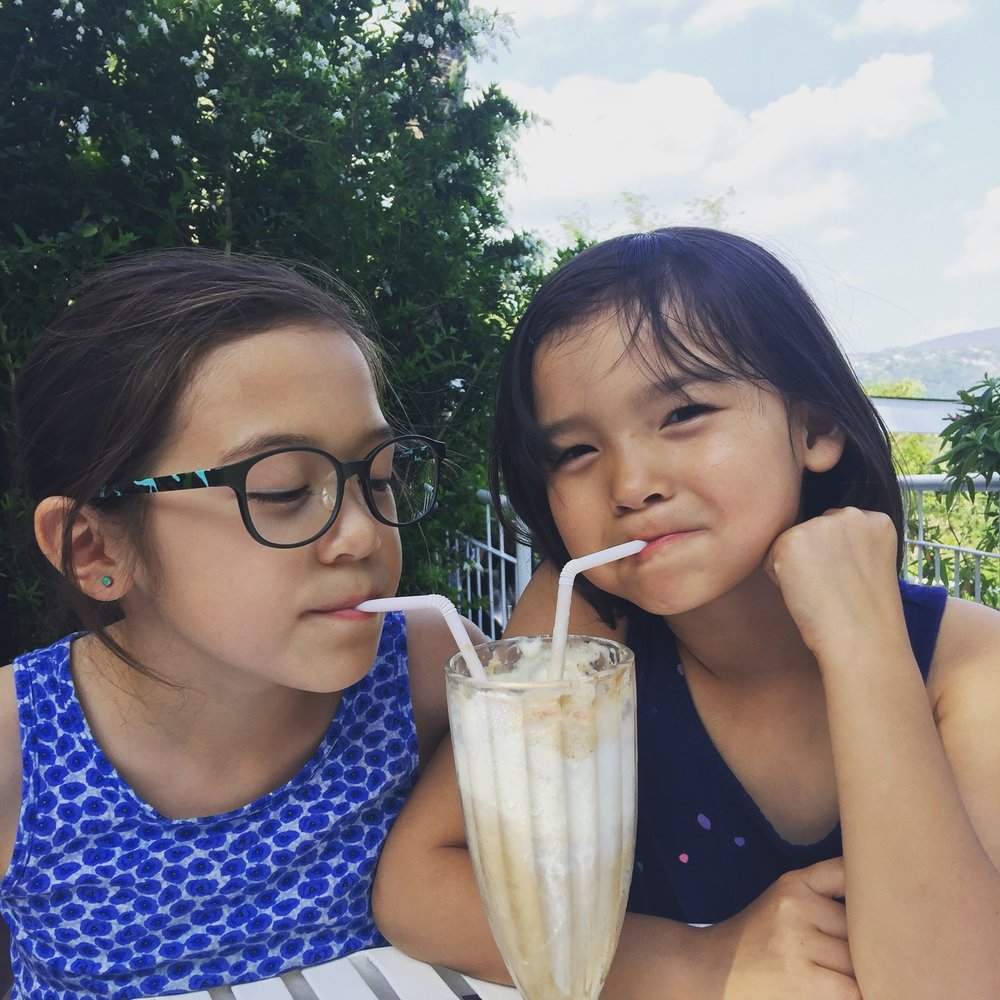 Sharing a root beer float in Tagaytay