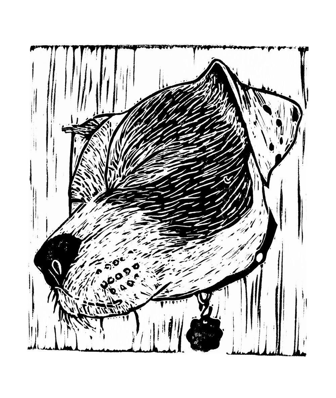 Snout  (2019), linocut on paper, 5.5inx6in