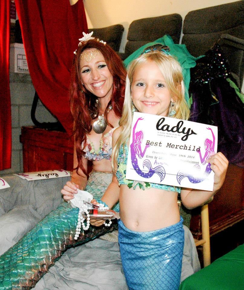 Mermaid - Jennifer Elizabeth  with Daughter Aurora - Winner of Best Merchild Costume Contest