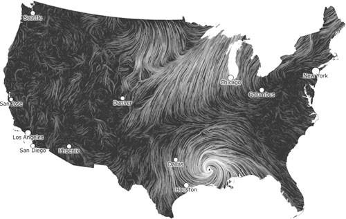 Wind map  (Viégas and Wattenberg, 2012)