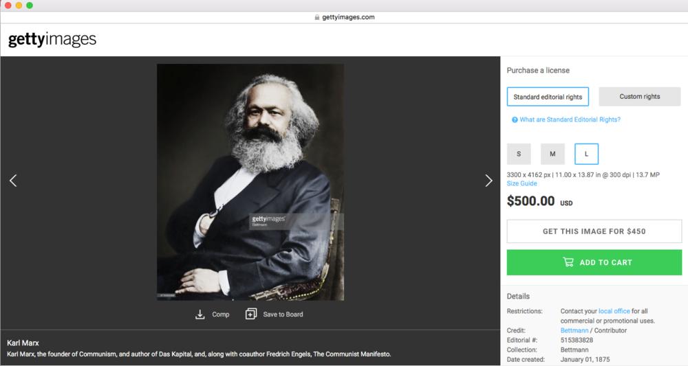 Captura de pantalla tomada del sitio gettyimages.com con la imagen de Karl Marx creada en 1875