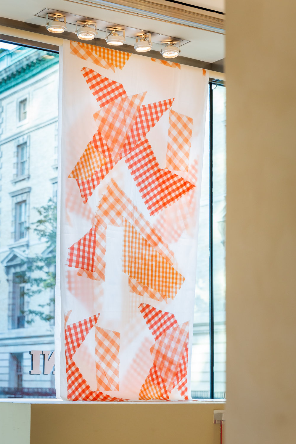 "Cheryl Donegan, Banner (Orange Gingham), cotton cloth with digital print, 42"" x 114 "", 2015"