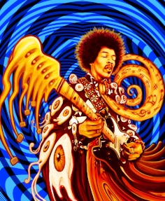 """Jimi Hendrix - Licensing James Marshall """"Jimi""""Hendrix was an American rock guitarist, singer, and songwriter. Although his mainstream career spanned only four years, he is widely regarded as one of the most influential electric guitarists in the history of popular music, and one of the most celebrated musicians of the 20th century."""