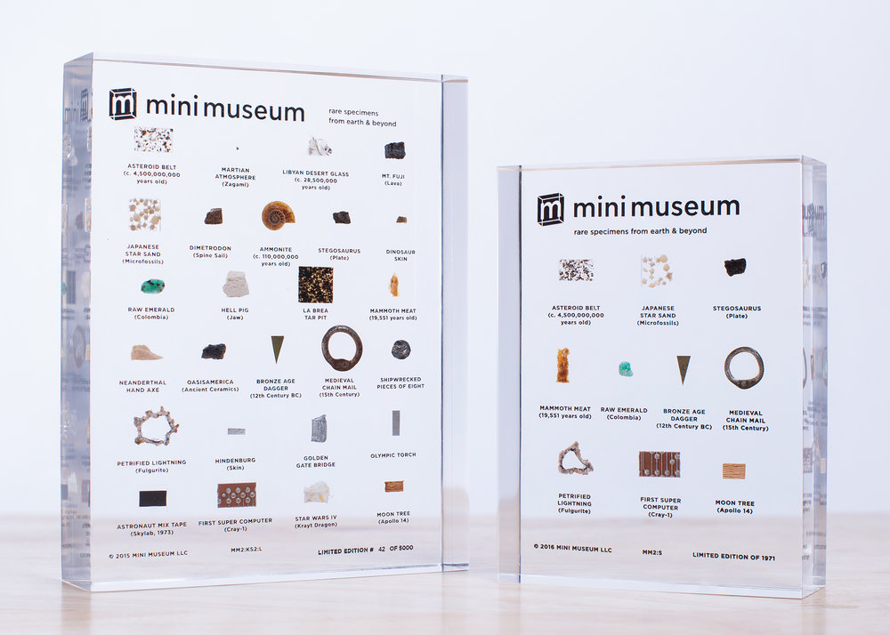 Mini Museum -  Licensing  The Mini Museum is a personal collection of rare and authentic specimens from across time and space. Since their first Kickstarter project in 2014, they have shared this journey with thousands of people all over the world. Items are sourced directly from the world's top auction houses and estates, notable scientists and personal expeditions. Mini Museums have items you will never find anywhere else such as crystallized fragments of the Martian Atmosphere (Studied by NASA scientists on Earth and validated directly by the Martian Rover Curiosity) and notable names like Buzz Aldrin, Steve Jobs, HRH Prince Charles and Princess Diana, Muhammad Ali, Winston Churchill.