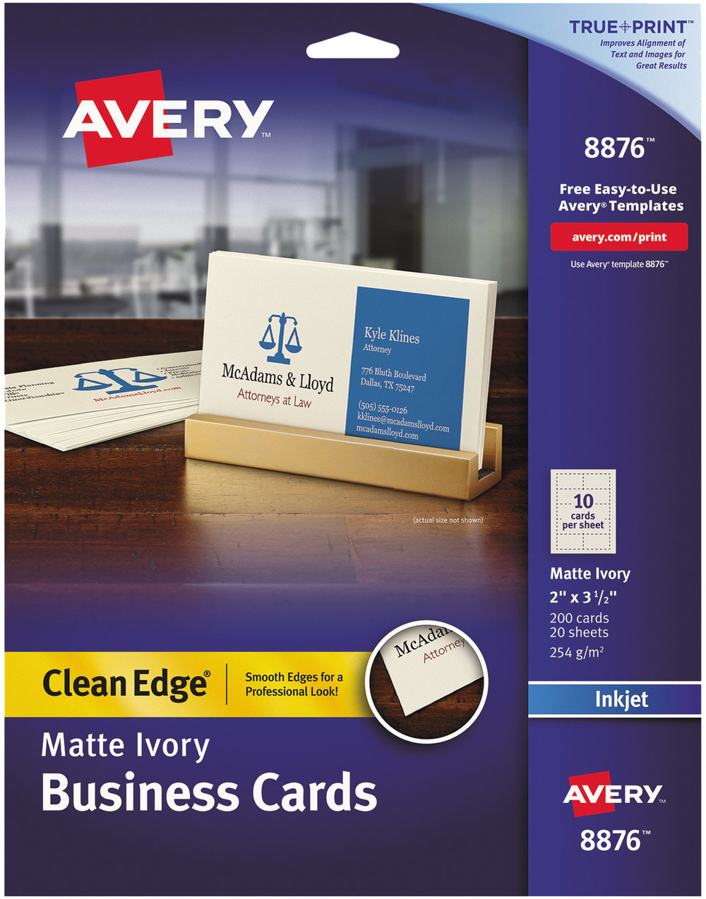 Labels innovative superstore avery clean edge matte ivory business cards 8876 reheart Images