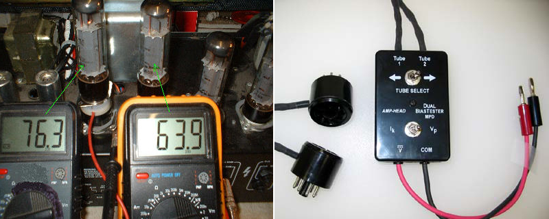 LEFT: Showing bias testing using a proper bias probe. RIGHT: Good bias tester/probe.