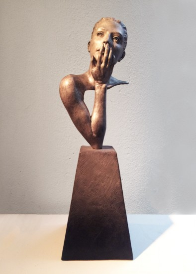 UNTITLED (HAND ON MOUTH), edition 4 of 12, Bronze, 20 x 6 x 6""