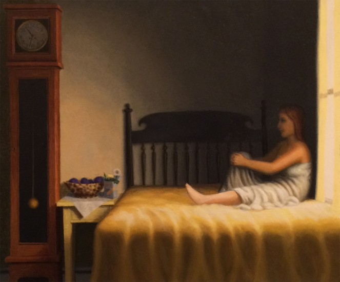 "BETWEEN THE CLOCK AND THE BED, Oil on Canvas Over Panel, image 10 1/2 x 12 1/2"" framed 15 1/2 x 16"""