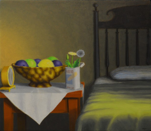 "BETWEEN THE ALARM CLOCK AND THE BED, Oil on Canvas over Panel, image 10 x 11"" framed 15 x 16"""