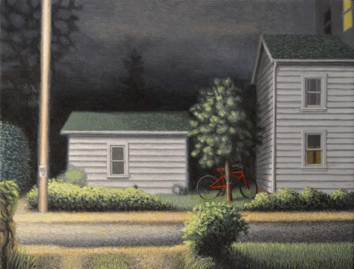 "JOHN'S RED SPEEDSTER, Oil on Canvas over Panel, image 9 x 11"" framed 12 x 14"""