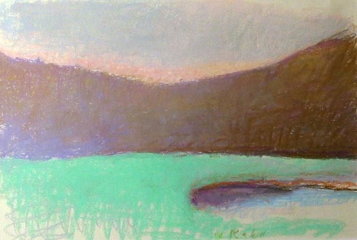 "VALLEY POND, Pastel on Paper, 12 x 18"" framed 18 3/4 x 24 1/4"""