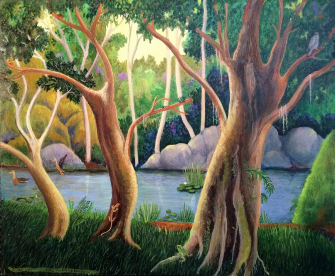 GOLDEN LIGHT, Acrylic on Panel, 11 x 14""