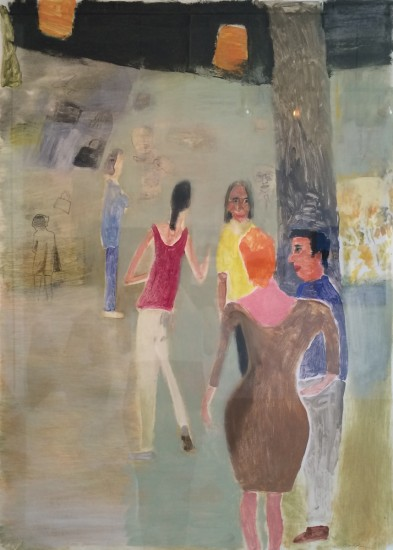 SOCIALIZING (LADY IN BROWN), Monotype, 41 x 29 1/2""