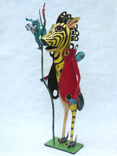 BEEZRA SELLING ZEEBRAS BY SEAHORSE, Painted Steel, 33 x 15 x 15""