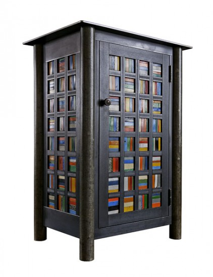 "STRIPS IN SQUARES QUILT CUPBOARD, Found Steel with Natural Rust Patina and Painted Steel, 38 x 27 x 19 1/2"" -  SOLD"
