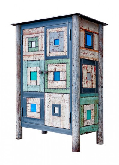 "TWO DOOR HOUSETOP CUPBOARD, Hot Rolled and Found Painted Steel, 41 x 31 x 17 1/2"" -  SOLD"