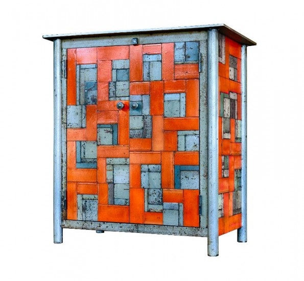 TWO DOOR HOUSETOP QUILT CUPBOARD, Found Rusted and Painted Steel, 34 x 17 1/2 x 36 1/2""