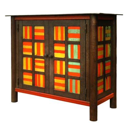 BASKET WEAVE QUILT CUPBOARD, Steel with Rust Patina and Found Painted Steel, 34 1/2 x 40 x 18 1/2""
