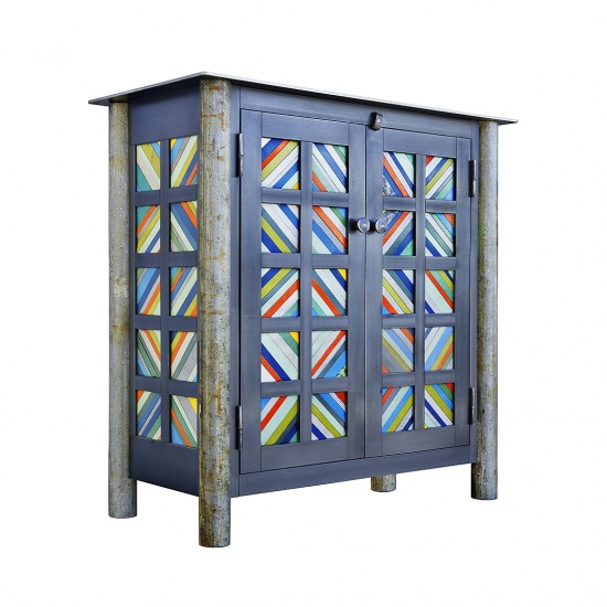 TWO DOOR STRIP QUILT CUPBOARD, Hot Rolled and Found Painted Steel, 36 x 36 x 17 1/2""
