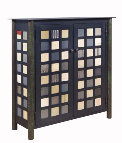 CHECKERBOARD QUILT CUPBOARD Hot Rolled Steel and Found Painted Steel, 42 x 39 x 14 1/2""