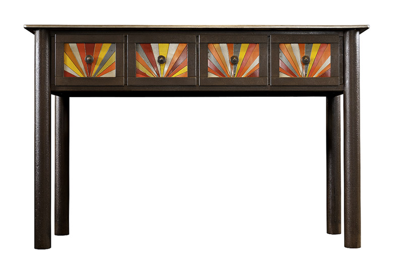 FOUR DRAWER STARBURST TABLE, Found Steel with Natural Rust Patina and Painted Steel, 32 1/2 x 50 x 16""