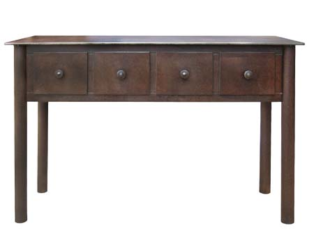 "FOUR DRAWER TABLE Steel with Rust Patina,  29""h x 56""w x 16""d"