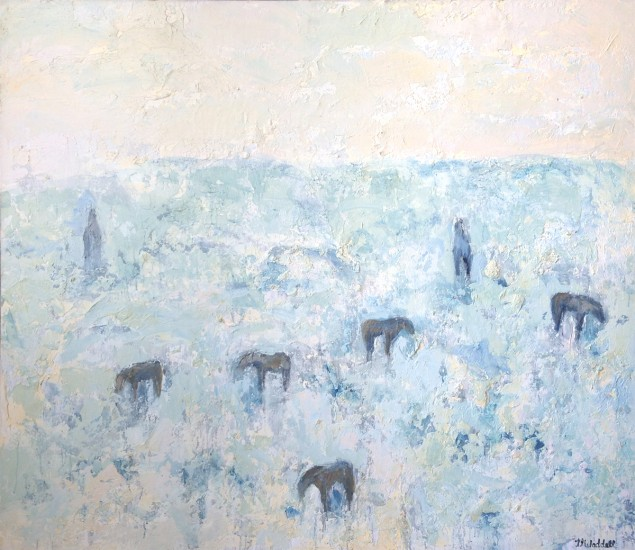 SAGEBRUSH HORSES, Oil and Encaustic on Canvas, 60 x 66""