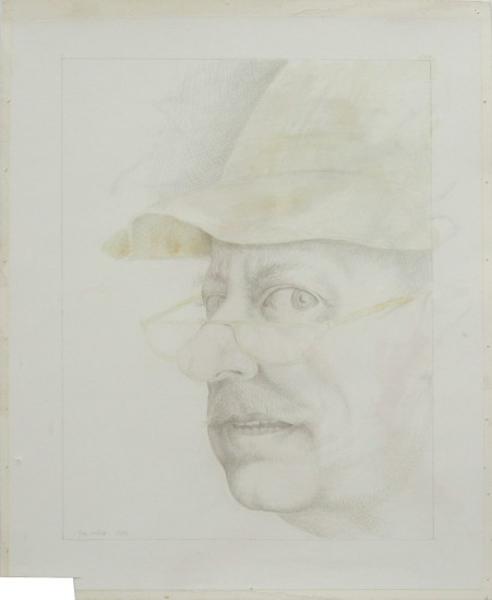 UNTITLED (PORTRAIT IN HAT AND GLASSESS), 1989, Graphite and Light Wash on Gessoed Strathmore, 20 x 16""