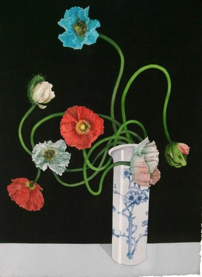"PAPAVER, Watercolor on Paper, image 30 x 22"" framed 40 x 32"""