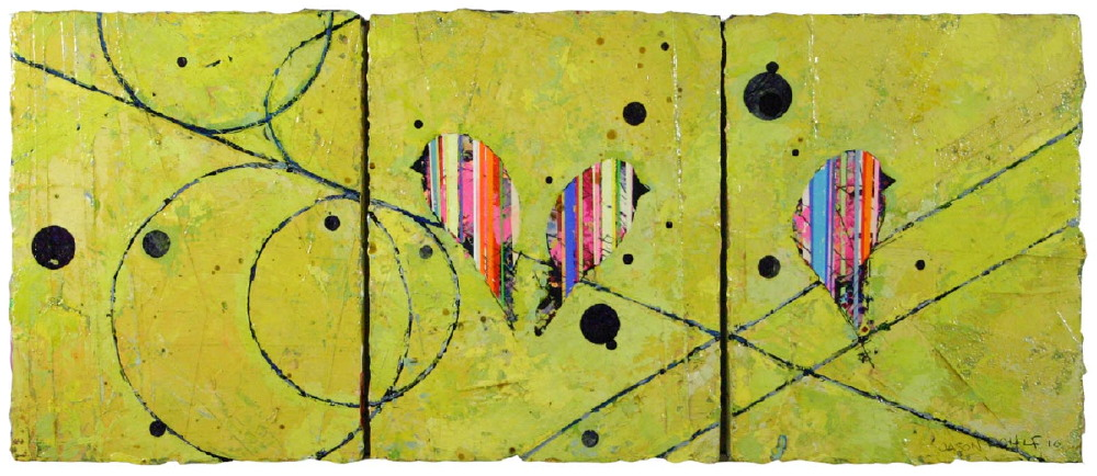 "Jason Rohlf, ""Diverging"", Acrylic and Collage on Panel, 14 x 34"""