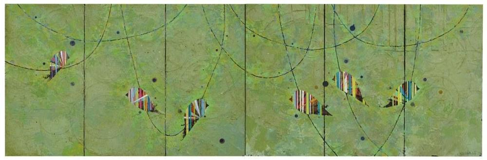 "Jason Rohlf, ""Shared"", Acrylic and Collage on Six Linen Panels, 36 x 110"""