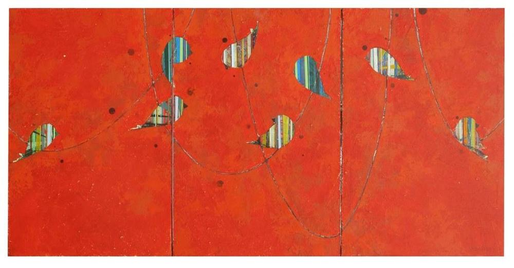 "Jason Rohlf, ""Spectators"", Acrylic Tn three Canvas Panels, 36 x 72"""