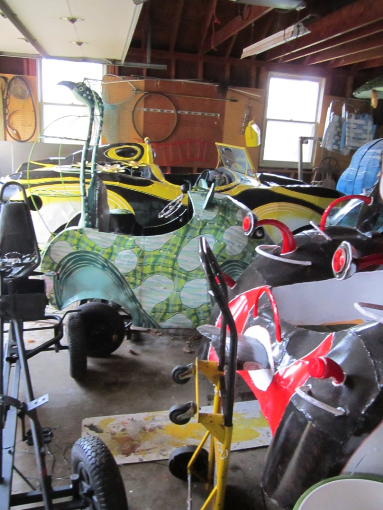 Some of the pedal powered sculptures in  Bill Reid 's garage.