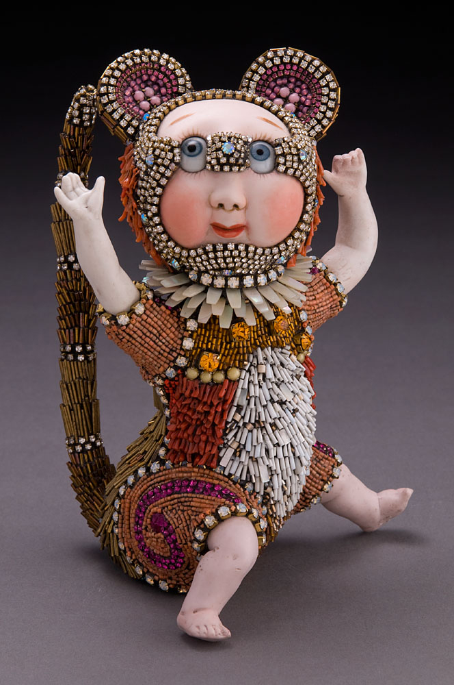 WALTER , vintage porcelain & glass, natural coral, mother of pearl, 8 1/2 x 5 1/2 x 5inches
