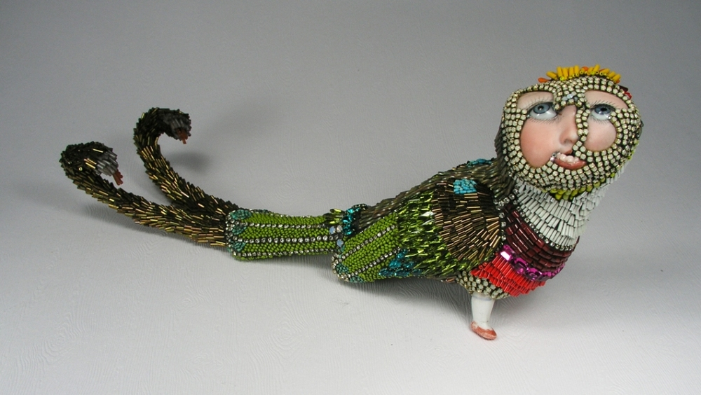MADDY,   vintage porcelain & glass  , seed beads, hand cut turquoise beads, 12 1/2 x 5 x 3 1/2 inches