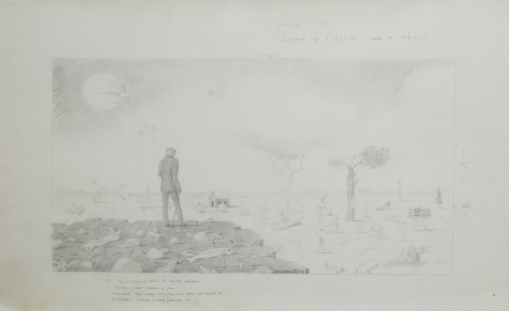IMAGE LITHO (STUDY FOR WILDEVIEW), Pencil on Paper, 14 1/2 x 23 1/8""