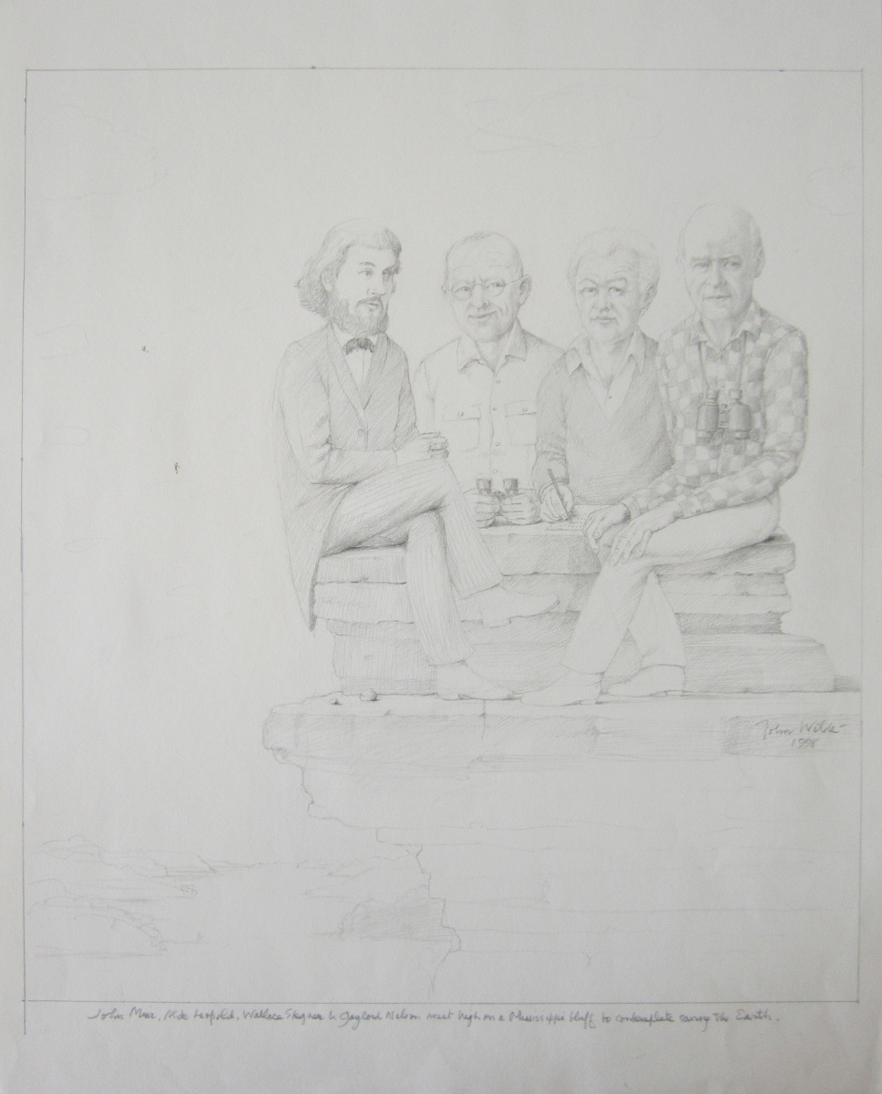 JOHN MUIR, ALDO LEOPOLD, WALLACE STEGNER & GAYLORD NELSON MEET HIGH ON MISSISSIPPI BLUFF TO CONTEMPLATE SAVING THE EARTH, 1998, Pencil on Paper, 16 5/8 x 13 1/4""