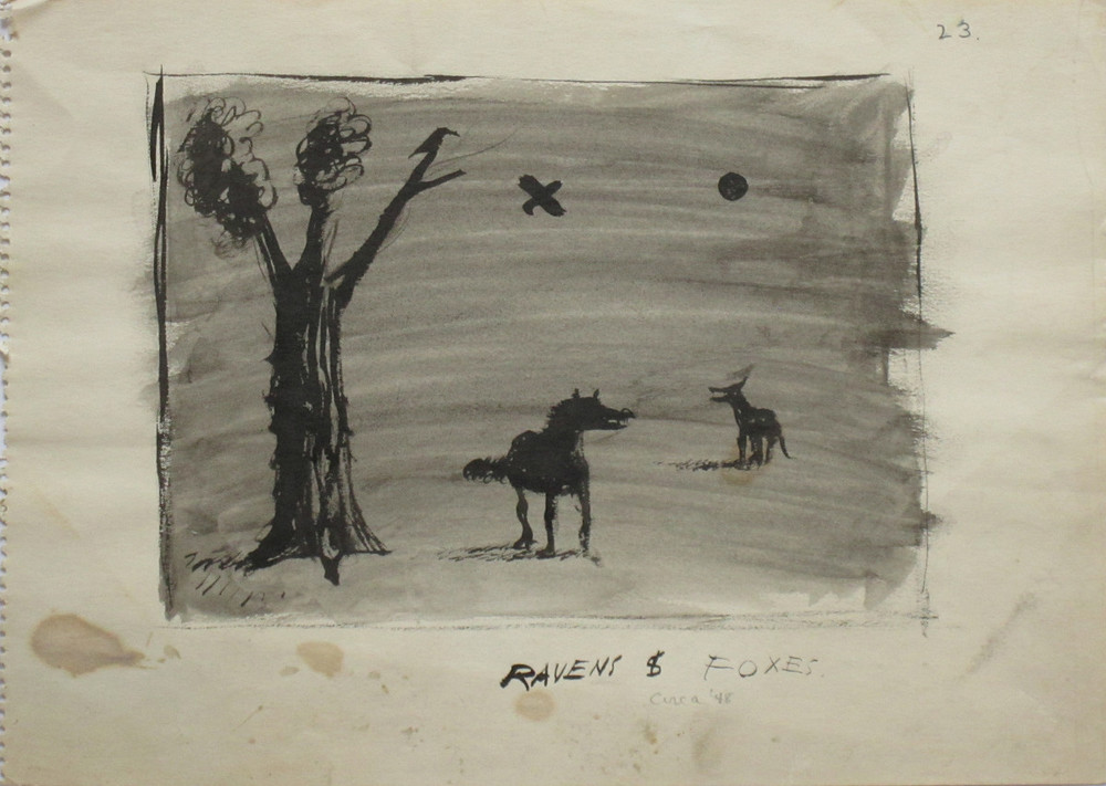 RAVENS & FOXES, 1948, Ink on Paper, 10 x 13 3/4""