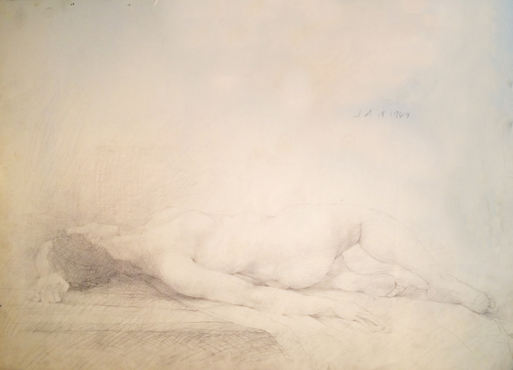 RECLINING NUDE, 1964, Graphite on Paper, 18 x 24""