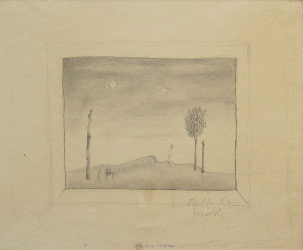 STUDY FOR A LANDSCAPE, 8-17-1942, Pencil on Paper, 12 x 18""