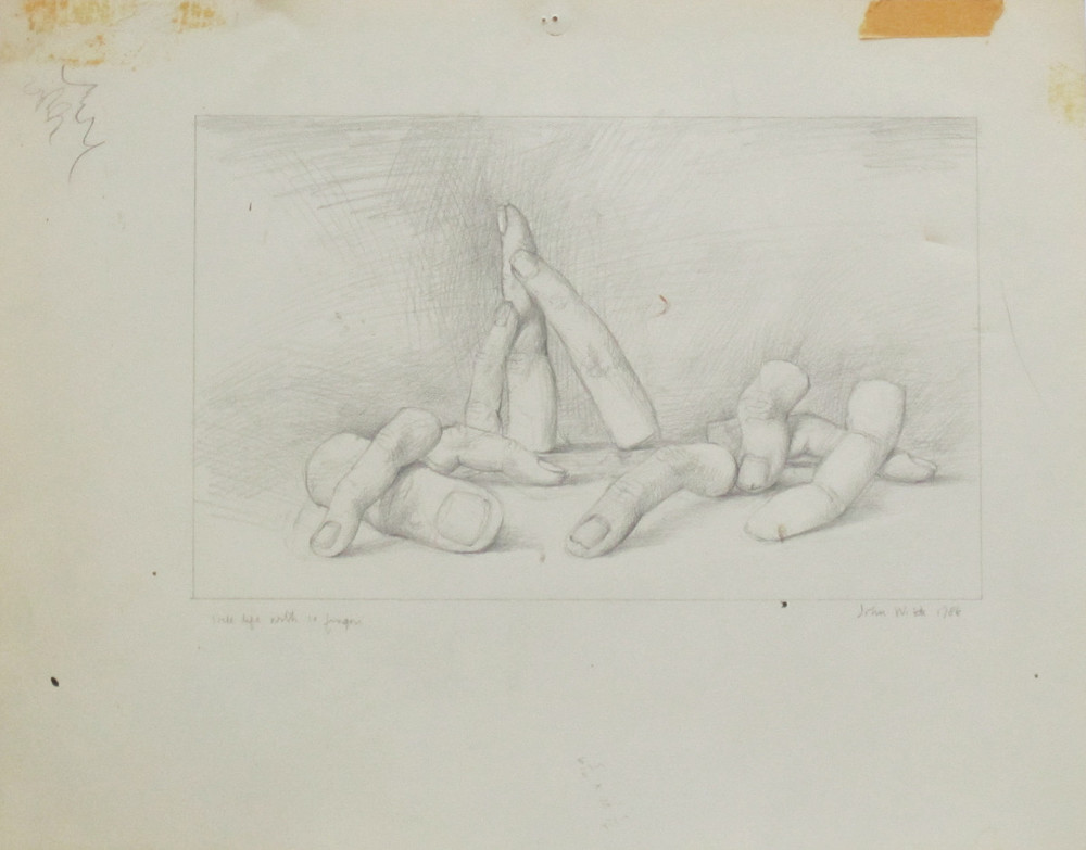 STILL LIFE WITH 10 FINGERS, 1986, Pencil on Paper, 11 x 14 1/8""