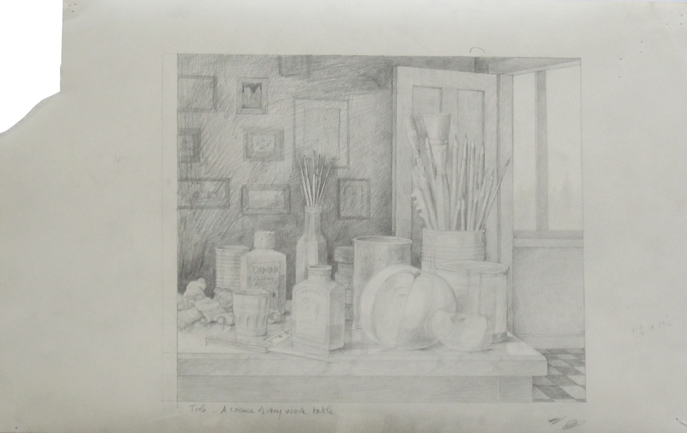 TOOL - A CORNER OF MY WORK TABLE, Pencil on Paper, 14 x 23""