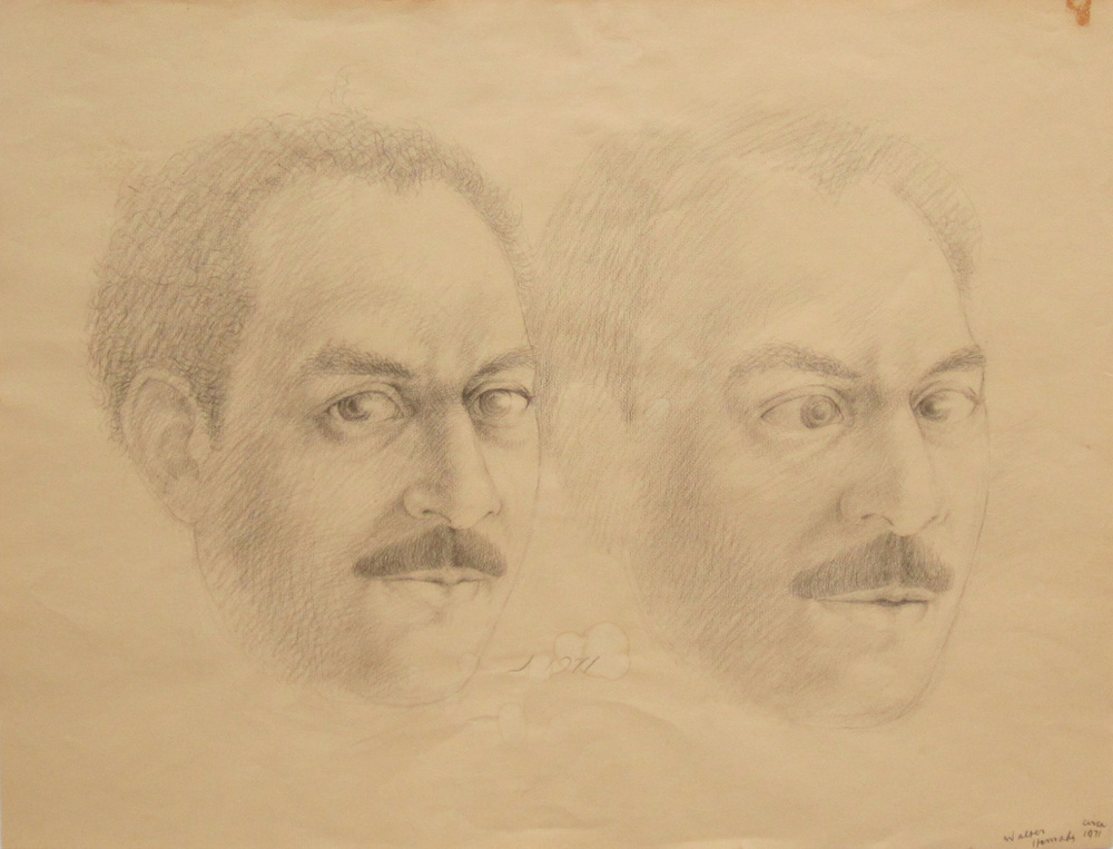 UNTITLED - DOUBLE PORTRAIT, 1971, Pencil on Tan Paper, 17 x 22""